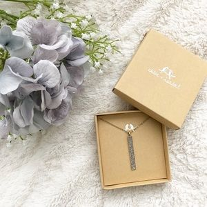 Pave Bar Long Pendant Necklace